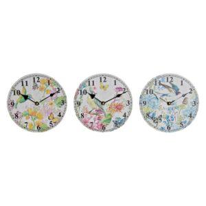 3 Relógios de Parede DKD Home Decor Madeira MDF Vogel  (20 x 3 x 20 cm)