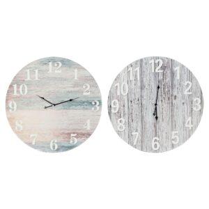 2 Relógios de Parede DKD Home Decor Mediterrâneo Madeira MDF (60 x 4.5 x 60 cm)