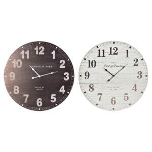 2 Relógios de Parede DKD Home Decor Tradicional Madeira MDF  (60 x 4 x 60 cm)