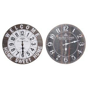2 Relógios de Parede DKD Home Decor Loft Madeira MDF  (34 x 4 x 34 cm)