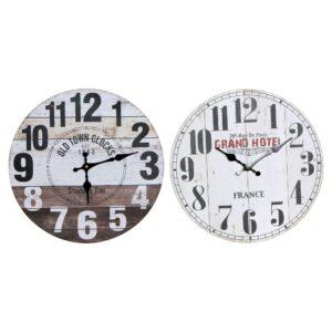2 Relógios de Parede DKD Home Decor Tradicional Madeira MDF  (34 x 4 x 34 cm)