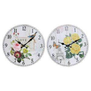 2 Relógios de Parede DKD Home Decor Bloemen Madeira MDF  (34 x 4 x 34 cm)
