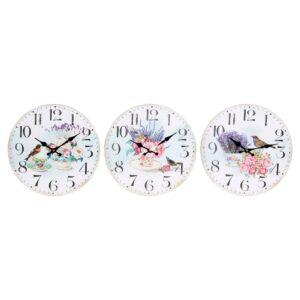3 Relógios de Parede DKD Home Decor Bloemen Madeira MDF (34 x 4 x 34 cm)