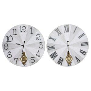 2 Relógios de Parede DKD Home Decor Pêndulo Metal Madeira MDF (58 x 8 x 58 cm)