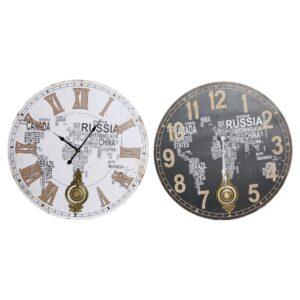 2 Relógios de Parede DKD Home Decor Pêndulo Mapa do Mundo Madeira MDF (58 x 4 x 58 cm)