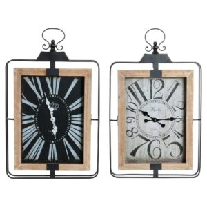 2 Relógios de Parede DKD Home Decor Cottage Ferro Madeira MDF  (46 x 6 x 75 cm)