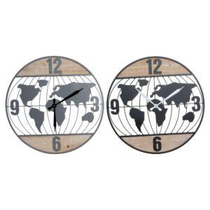 2 Relógios de Parede DKD Home Decor Ferro Madeira MDF Mapa do Mundo (60 x 4.5 x 60 cm)