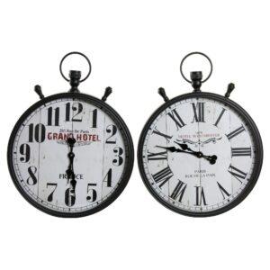 2 Relógios de Parede DKD Home Decor Hotel Cristal Ferro  (50 x 10 x 66 cm)