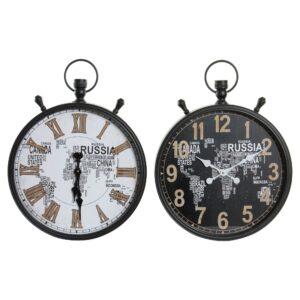 2 Relógios de Parede DKD Home Decor Cristal Ferro Mapa do Mundo (50 x 10 x 66 cm)