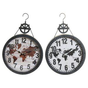 2 Relógios de Parede DKD Home Decor Cristal Ferro Mapa do Mundo  (40.5 x 7 x 62 cm)