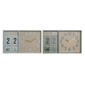 2 Relógios de Parede DKD Home Decor Polipropileno Verde Menta Madeira MDF (40 x 5 x 24 cm)