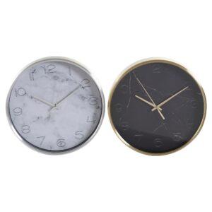 2 Relógios de Parede DKD Home Decor Mármore Alumínio Cristal  (25 x 4 x 25 cm)