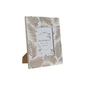 Moldura de Fotos DKD Home Decor Cristal Tropical Madeira de mangueira Folhas (23 x 1.8 x 28.3 cm)