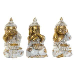 3 Figuras Decorativa DKD Home Decor Resina Buda  (16 x 9 x 10 cm)