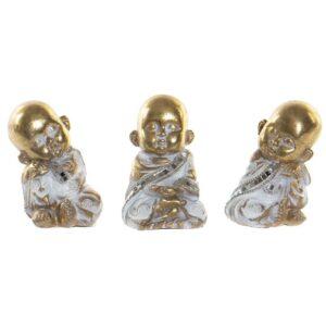 3 Figuras Decorativa DKD Home Decor Resina Cristal Monge  (7 x 6 x 10 cm)