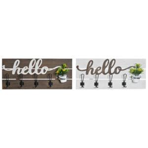2 Bengaleiros de Parede DKD Home Decor Hello Madeira Metal  (65 x 10 x 29 cm)