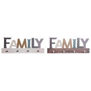 2 Bengaleiros de Parede DKD Home Decor Family Madeira (5 x 4 x 18 cm)