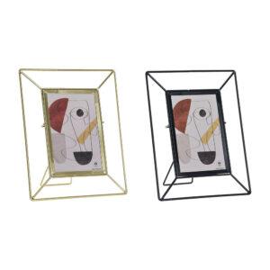 2 Molduras de Fotos DKD Home Decor Metal Cristal Moderno  (18 x 3 x 23 cm)