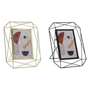 2 Molduras de Fotos DKD Home Decor Metal Cristal Moderno (18 x 5 x 22 cm)