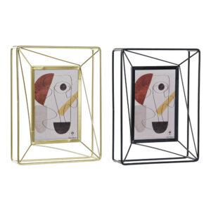 2 Molduras de Fotos DKD Home Decor Metal Cristal Moderno (17 x 5 x 23 cm)