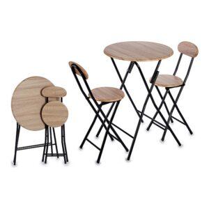 Conjunto de mesa com 2 cadeiras Metal MDF (3 pcs)