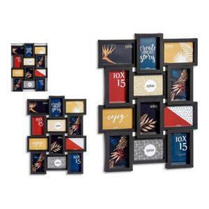 Porta-retratos Múltiplo Preto Cristal Plástico (44,5 x 2,5 x 58,5 cm)