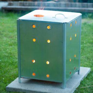 Nature Incinerador de jardim quadrado 46x46x65 cm aço galvanizado - PORTES GRÁTIS