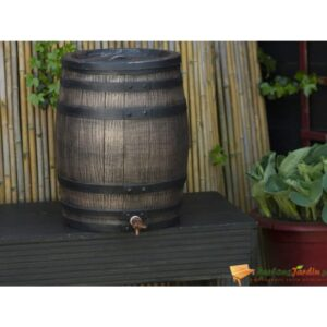 Nature Barril p/ água da chuva aspeto madeira 50 L 38x49,5 cm castanho   - PORTES GRÁTIS