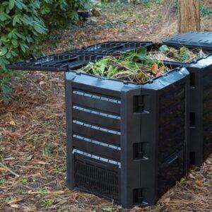 Nature Caixa de lixo para composto, preto 1200 L, 6071483 - PORTES GRÁTIS