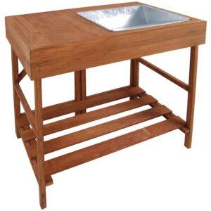 Esschert Design Mesa de jardinagem em madeira GT35 - PORTES GRÁTIS