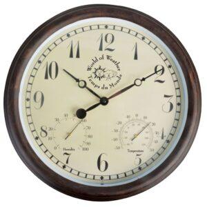 Esschert Design Relógio estação met. c/ termo-higrómetro 30,5 cm TF008 - PORTES GRÁTIS