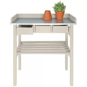 Esschert Design mesa de trabalho para jardim, branco CF29W  - PORTES GRÁTIS