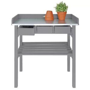 Esschert Design Bancada de trabalho jardim, cinzento CF29G - PORTES GRÁTIS