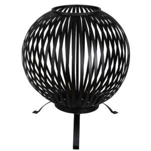 Esschert Design Taça combustão esférica tiras aço carbono preto FF400 - PORTES GRÁTIS