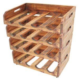 Garrafeiras para 16 garrafas 4 pcs madeira recuperada maciça - PORTES GRÁTIS