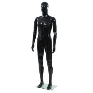 Manequim masculino completo base vidro 185 cm preto brilhante  - PORTES GRÁTIS