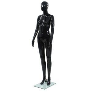 Manequim feminino completo base em vidro 175 cm preto brilhante  - PORTES GRÁTIS