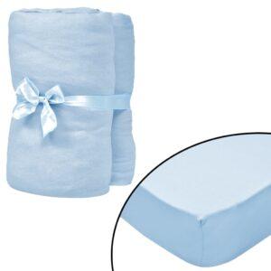 4 Lençóis ajustáveis 40x80 cm algodão azul-claro - PORTES GRÁTIS
