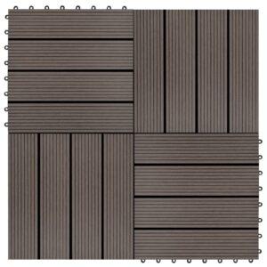 Pavimento Para Pátios -Varandas -WC - Piscina - Spa 11 pcs WPC 1m² 30x30 cm castanho escuro - PORTES GRÁTIS