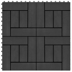 Pavimento Para Pátios -Varandas -WC - Piscina - Spa 11 pcs WPC 1m² 30x30 cm preto - PORTES GRÁTIS