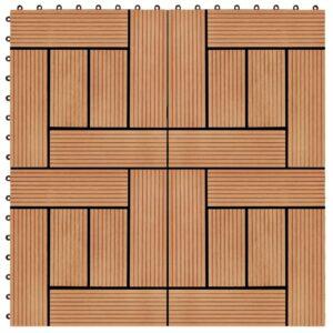 Pavimento Para Pátios -Varandas -WC - Piscina - Spa 11 pcs WPC 30x30 cm 1m² cor de teca - PORTES GRÁTIS
