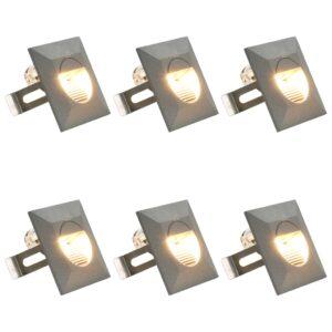 Iluminação LED de parede exterior 6 pcs 5 W quadrado prateado - PORTES GRÁTIS