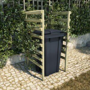 Unidade p/caixote lixo 70x80x150 cm pinho FSC impregnado verde - PORTES GRÁTIS