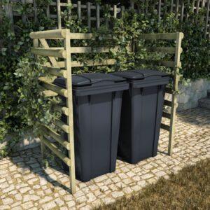 Unidade p/caixote lixo 140x80x150 cm pinho FSC impregnado verde - PORTES GRÁTIS