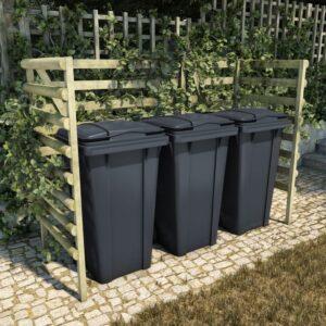 Abrigo p/ 3 caix. lixo 210x80x150 cm pinho FSC impregnado verde - PORTES GRÁTIS