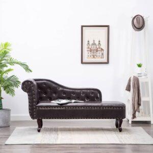 Chaise longue couro artificial castanho-escuro - PORTES GRÁTIS