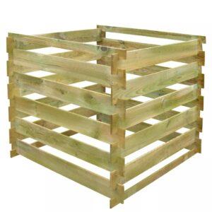 Caixa de compostagem ripada 0,54m3 quadrada madeira FSC - PORTES GRÁTIS