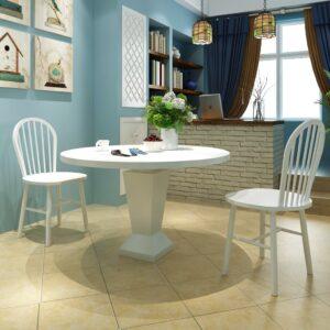 Cadeiras de jantar 2 pcs madeira maciça branco - PORTES GRÁTIS