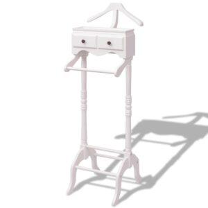 Suporte para roupas com armário em madeira, branco - PORTES GRÁTIS