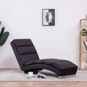 Chaise longue couro artificial castanho - PORTES GRÁTIS